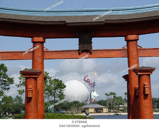 10630600, Epcot, subject park, Florida, leisure park, ball, sphere, Orlando, park, pavilion, Space Earth, pond, archway, Torii