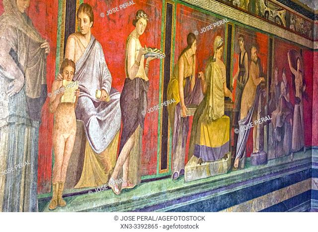Roman fresco, Villa of the Mysteries, Villa dei Misteri, Excavations of Pompeii, was an ancient Roman town destroyed by volcan Mount Vesuvius, Pompei