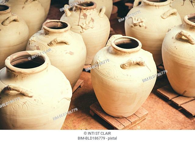 Ceramic pots drying in kiln