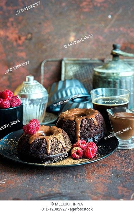 Mini chocolate bundt cakes with chocolate sour cream icing with fresh raspberries