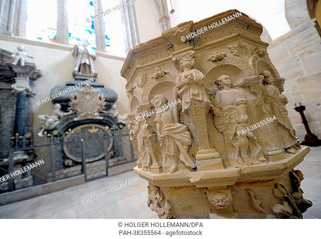 View of the baptismal font of the monastery church in Loccum, Germany, 27 February 2013. On 21 March, the monastery celebrated its 850th anniversary
