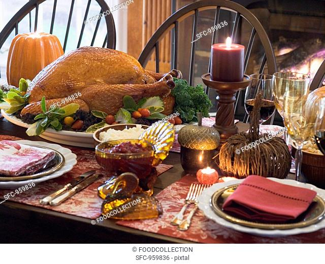 Stuffed turkey on Thanksgiving table USA
