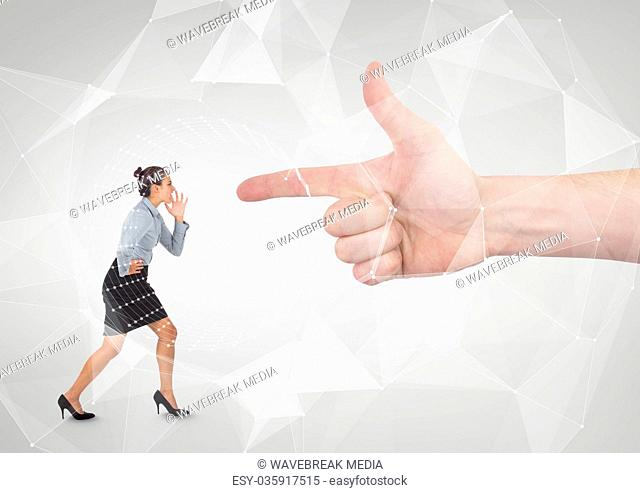 Hand pointing at angry business woman against white background