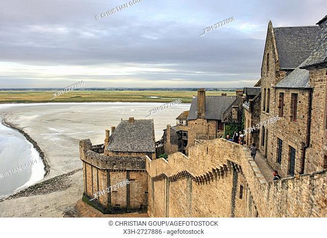 ramparts of Mont-Saint-Michel, Manche department, Normandy region, France, Europe