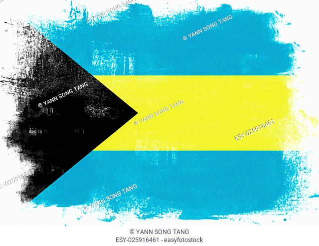 Flag of Bahamas painted with brush on solid background