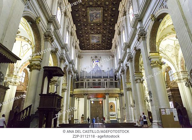 Cityscape in Lecce on July 13, 2018 Puglia Italy. Duomo indoor of the cathedral