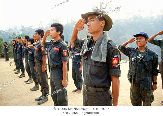 ABSDF (All Burma Student Democratic Front) fighters during morning roll call. Manerplaw, ABSDF Headquarter. Kawthoolei (Karen State). East Myanmar