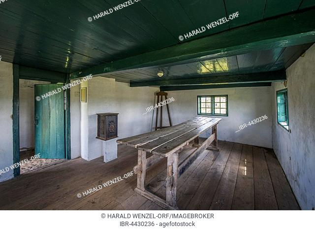 Historical classroom, Toftum Gamle School, Denmark's smallest and oldest school, closed in 1874, Toftum, Rømø, Southern Denmark, Denmark