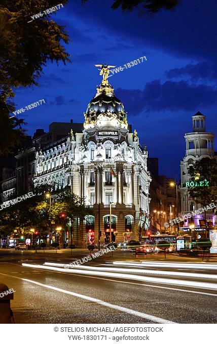 Metropolis Building at Dusk, Gran Via, Madrid, Spain