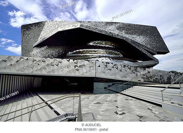 Europe, France, philhamonie of Paris at Parc de la Villette. Mandatory credit: Architect Jean Nouvel