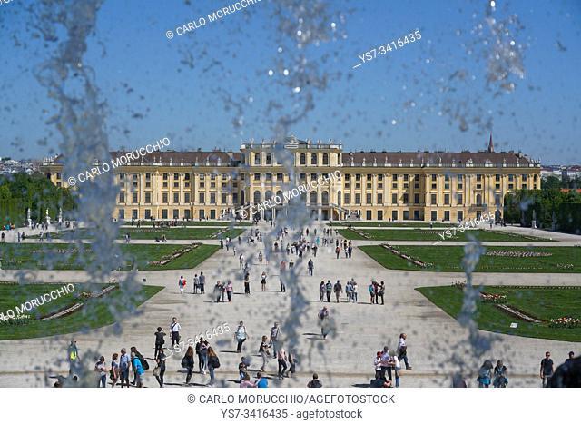 Schönbrunn Palace from the Neptune fountain, Vienna, Wien, Austria, Europe
