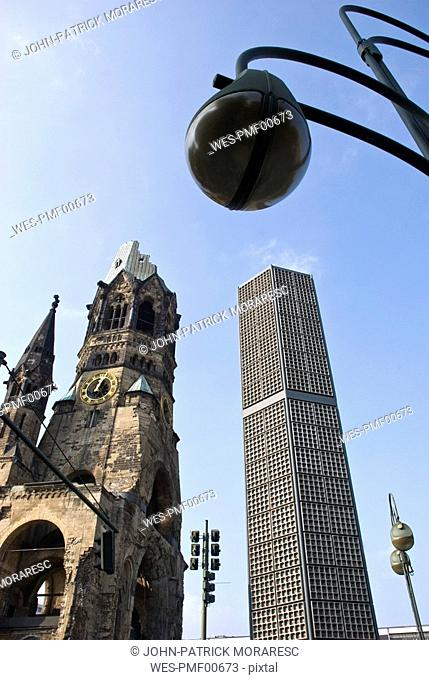 Germany, Berlin, Emperor William Church, New building and ruin, low angle view