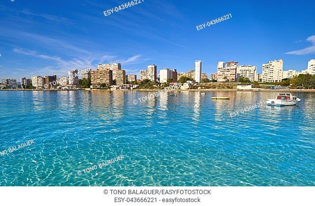 Alicante skyline from Almadraba beach of Spain at Costa Blanca