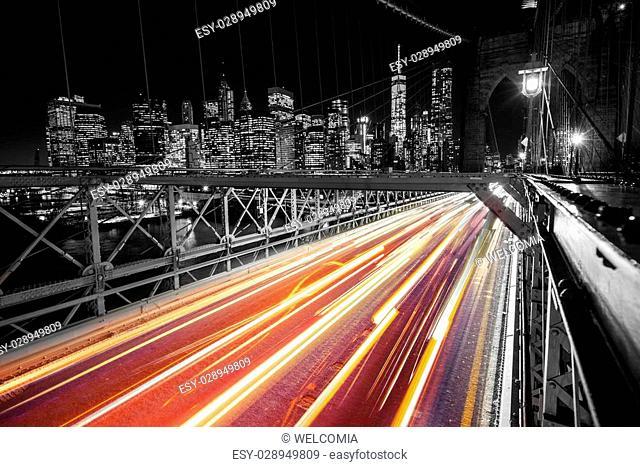 Brooklyn Bridge New York Traffic Light. Manhattan and Brooklyn Bridge at Night. United States of America