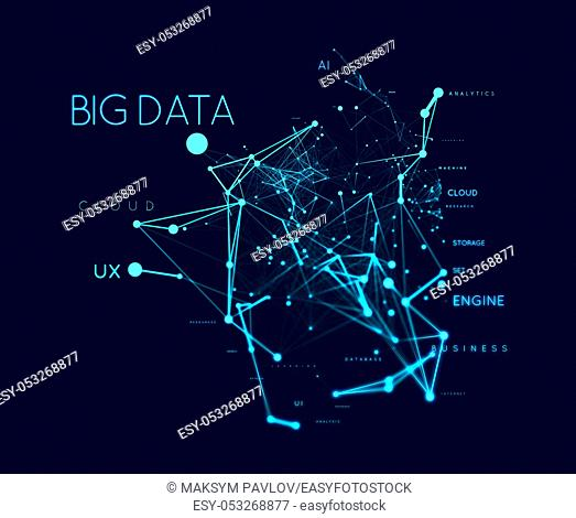 Big data concept in word tag cloud with plexud dot and line connection. Geometric background illustration