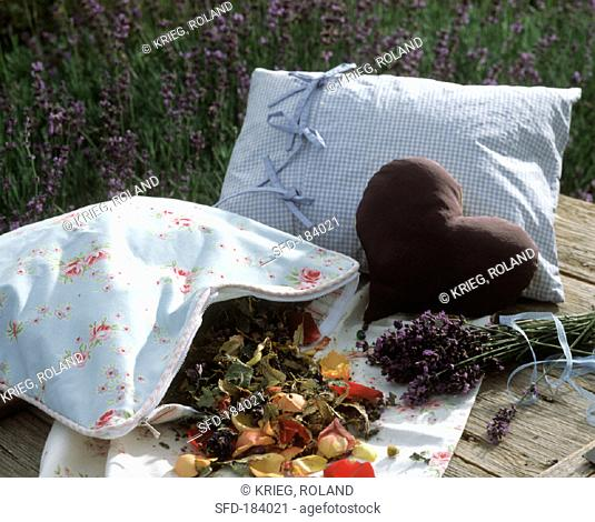 Home-made herb pillows (with flowers and lavender)