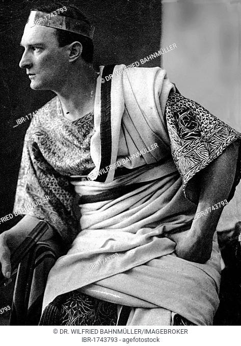 Pontius Pilate, black and white postcard, Passion Play Oberammergau 1930, Upper Bavaria, Germany, Europe