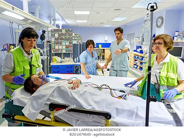Patient transfer stretcher, Emergency room, Hospital Donostia, San Sebastian, Gipuzkoa, Basque Country, Spain