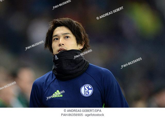 Schalke's Atsuto Uchida, photographed before the Europa League group phase soccer match between RB Salzburg and FC Schalke 04 at the Red Bull Arena in Salzburg
