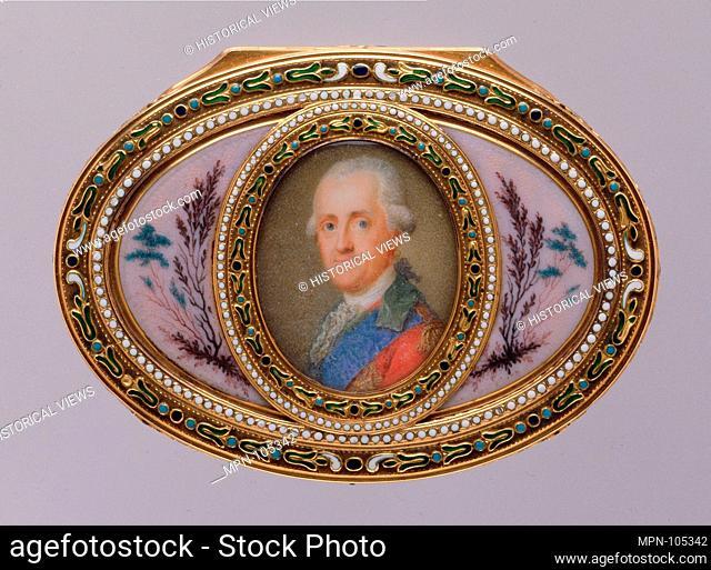 Snuffbox with portrait of a man, almost certainly Prinz Karl von Sachsen (1733-1796). Maker: Jean-Joseph Barrière (apprenticed 1750, master 1763