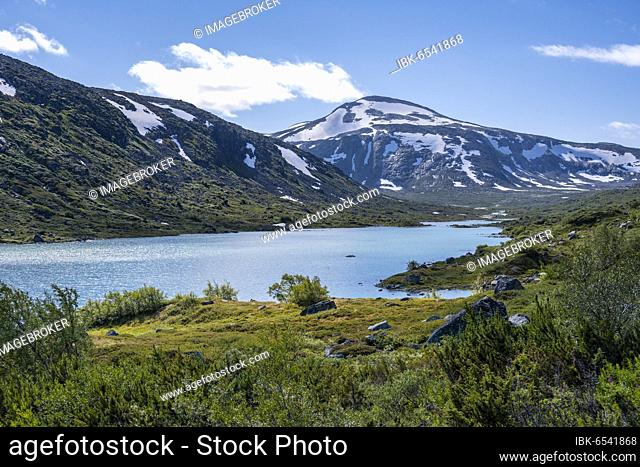 Turquoise lake and mountains, Norwegian Landscape Route, Gamle Strynefjellsvegen, between Grotli and Videsæter, Norway, Europe