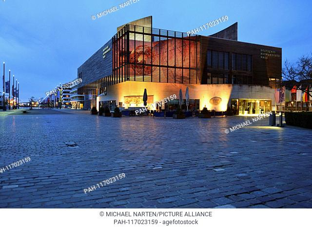 Exterior View of the museum building Deutsches Auswandererhaus beside the New Harbour of Bremerhaven, 6 April 2018   usage worldwide