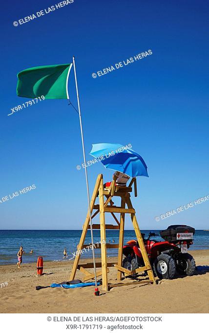 Red Cross lifeguard at 'Las Marinas' beach Denia Alicante Spain