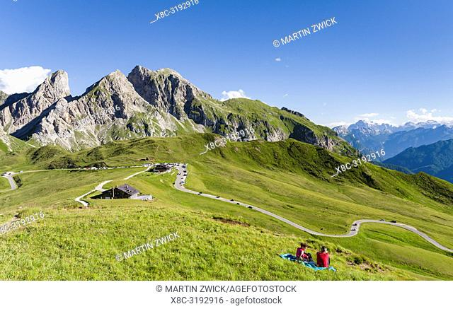 Dolomites at Passo Giau. View towards Monte Cernera and Monte Mondeval. The Dolomites are part of the UNESCO world heritage