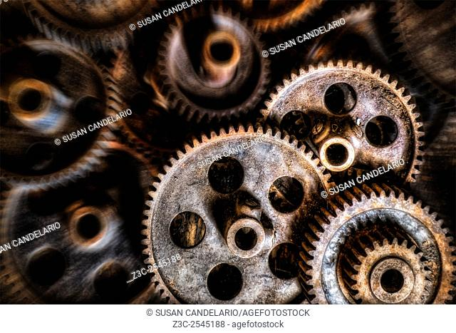Mechanical Gears - Old fashioned machine gears abandoned and forgotten with time