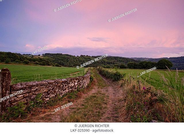 Landscape in the evening light near Parrocha, near Portomarin, Camino Frances, Way of St. James, Camino de Santiago, pilgrims way, UNESCO World Heritage