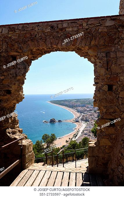 view of the city from the Castle of Blanes, Costa Brava, Girona province, Catalonia, Spain