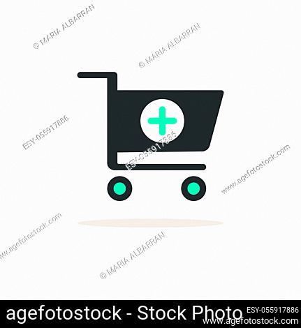 Shopping pharmacy cart. Icon with shadow on a beige background. Commercial flat vector illustration
