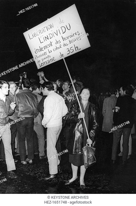 Student protesters, Latin Quarter, Paris, May 1968. Widespread protests and riots by students opposed to the policies of the government of President De Gaulle...