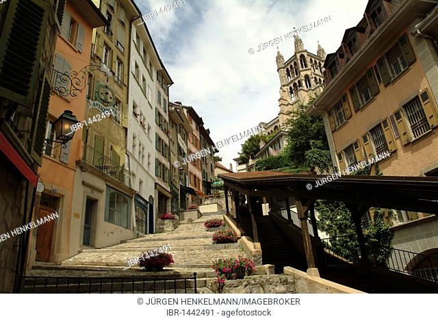 Escaliers du Marché, roofed stairs that lead from the market in the historic centre to the Cathedral of Notre-Dame, Lausanne, Lake Geneva, Canton of Vaud