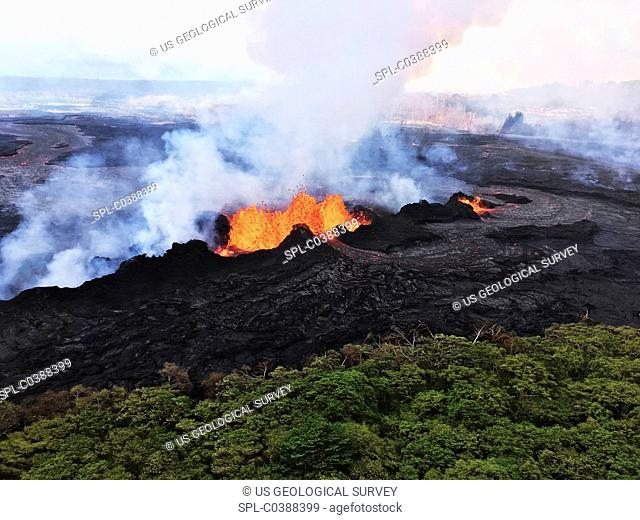 Kilauea eruption lava fountains. Aerial photograph of lava fountains erupting from a fissure that opened during an eruptive episode on Kilauea