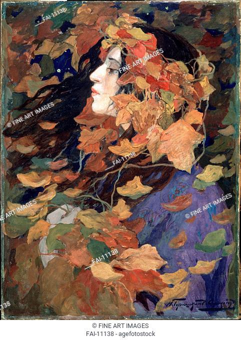 Falling Leaves (Portrait of V. Issinskaya). Goryshkin-Sorokopudov, Ivan Silych (1873-1954). Tempera on canvas. Art Nouveau. 1914