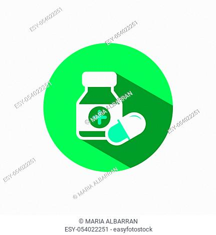 Capsules bottle icon with shadow on a green circle. Flat color vector pharmacy illustration