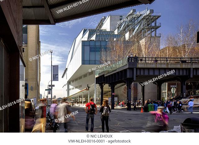 Exterior contextual view from street with High Line. Whitney Museum of American Art, New York, United States. Architect: Renzo Piano Building Workshop, 2015