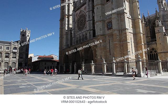 Exterior, PAN, TILT up, Daylight, view of the Santa Maria de Leon Cathedral. Seen is the Gothic facade built between 13th-16th century