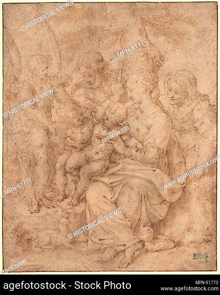 The Holy Family with the Infant Baptist, Saint Elizabeth, and an Attendant Angel. Artist: Aurelio Luini (Italian, Luino or Milan ca