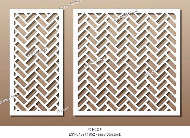 Set geometric ornament template. card for laser cutting. decorative design element. circular pattern. Vector illustration