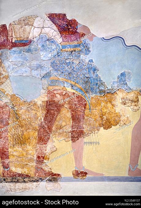 The Minoan 'Procession Fresco' close up , wall art from the South Prpylaeum, Knossos Palace, 1500-1400 BC . Heraklion Archaeological Museum.