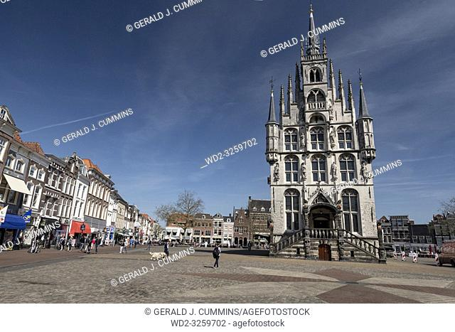 Netherlands; Gouda, 2017, city center, showing its famous 15th century Town hall, The place where Gouda chesse fair takes place