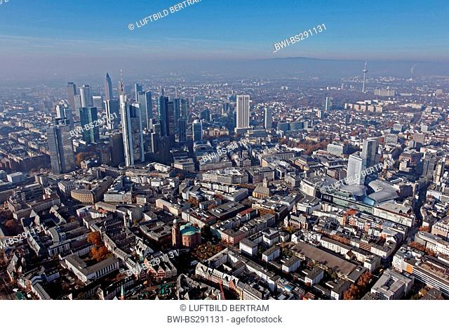 view to the city and business district, the Taunus in background, Germany, Hesse, Frankfurt/Main