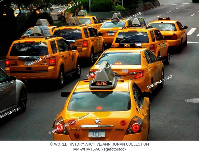 Line of Yellow cab taxis in Midtown New York City