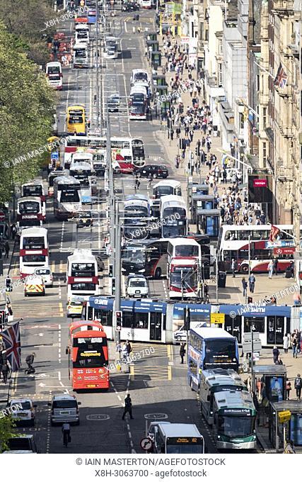 Busy traffic on Princes Street shopping street in central Edinburgh, Scotland, UK