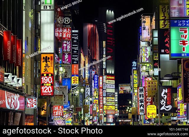 Tokyo Japan. Neon bright lights in Shinjuku district by night