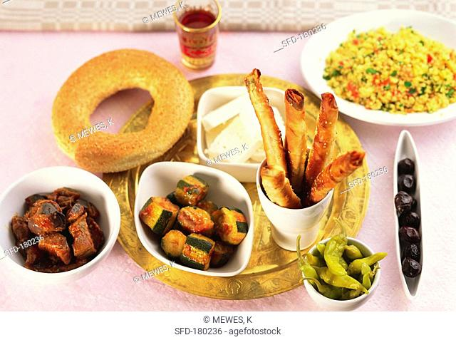 Turkish raki board with warm and cold appetisers