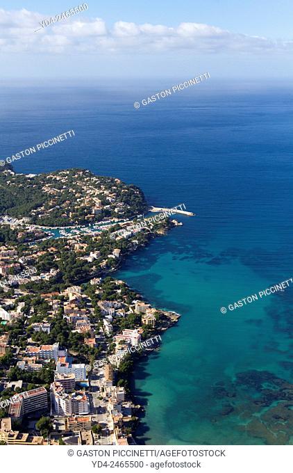 Aerial view of the coast of Mallorca, Majorca, Balears Island, Spain
