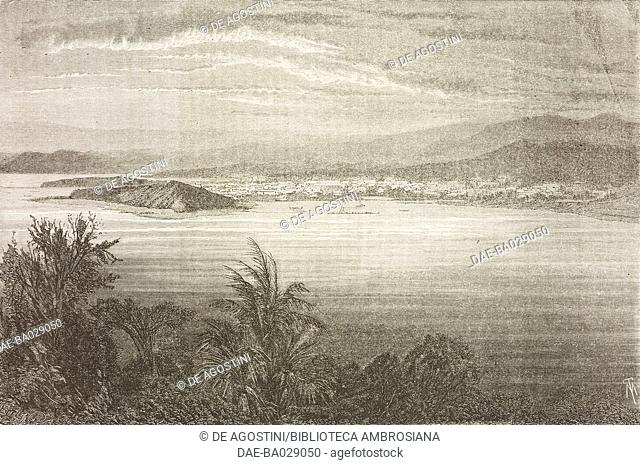View of Noumea, or Port-de-France, Nu island, New Caledonia, drawing by Jean-Pierre Moynet (1819-1876) from a photograph